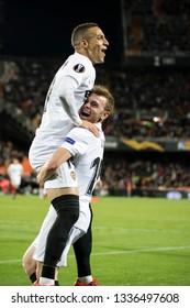 VALENCIA, SPAIN - MARCH 7: Rodrigo and Lato celebrte a goal during UEFA Europa League match between Valencia CF and FC Krasnodar at Mestalla Stadium on March 7, 2019 in Valencia, Spain