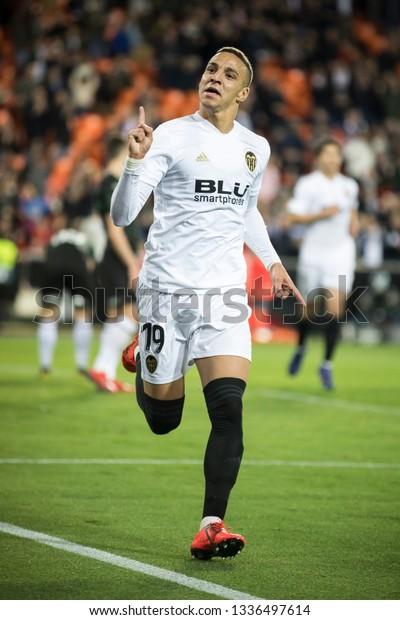 VALENCIA, SPAIN - MARCH 7: Rodrigo celebrates a goal during UEFA Europa League match between Valencia CF and FC Krasnodar at Mestalla Stadium on March 7, 2019 in Valencia, Spain