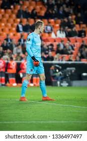 VALENCIA, SPAIN - MARCH 7: Safonov during UEFA Europa League match between Valencia CF and FC Krasnodar at Mestalla Stadium on March 7, 2019 in Valencia, Spain