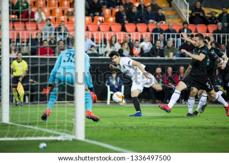 VALENCIA, SPAIN - MARCH 7: Soler with ball during UEFA Europa League match between Valencia CF and FC Krasnodar at Mestalla Stadium on March 7, 2019 in Valencia, Spain