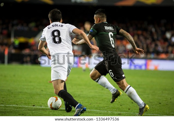VALENCIA, SPAIN - MARCH 7:(8) Soler, (6) Ramirez during UEFA Europa League match between Valencia CF and FC Krasnodar at Mestalla Stadium on March 7, 2019 in Valencia, Spain