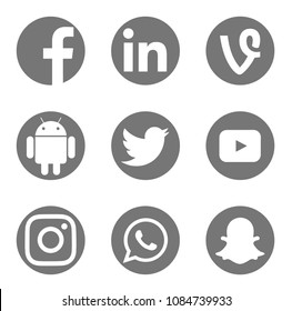Valencia, Spain - May 04, 2017: Collection of popular social media logos printed on paper: Facebook, Android, Twitter, Youtube, Instagram, WhatsApp, Linkedin,  Snapchat, Vine.