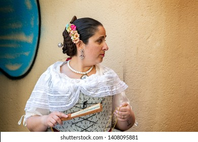 VALENCIA, SPAIN - MAY 04, 2019: Traditional dresses ansd clothes of a spanish woman in Valencia