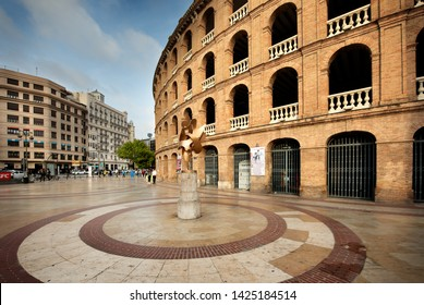 Valencia, Spain - May 06, 2019: Entrance of the Plaza del Toros, a bullfighting arena, that holds 10,500 people in Valencia, Spain