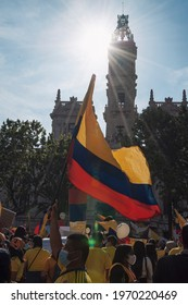 VALENCIA, SPAIN - May 08, 2021: Concentration, demonstration, protest of Colombians against the Duque government and former President Uribe
