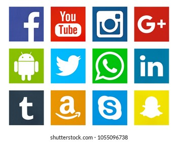 Valencia, Spain - May 09, 2017: Collection of popular social media logos printed on paper: Facebook,Twitter, WhatsApp,Youtube,Android, Linkedin, Amazon, Google Plus,Tumblr, Snapchat, Skype, Instagram.