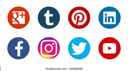 Valencia, Spain - May 09, 2017: Collection of popular social media logos printed on paper: Facebook, Instagram, Twitter, Pinterest, Youtube, Tumblr, Google Plus, Linkedin.
