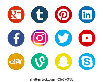 Valencia, Spain - May 09, 2017: Collection of popular social media logos printed on paper: Facebook, Twitter, Pinterest, Youtube, Instagram, Linkedin, Skype, Google Plus, Tumblr, Snapchat, Vine, Ebay.