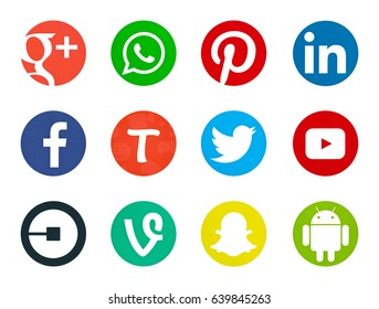 Valencia, Spain - May 09, 2017: Collection of popular social media logos printed on paper: Facebook, Twitter, Pinterest, Youtube, Vine, Linkedin, Uber, Google Plus, Android, Snapchat, WhatsApp, Tango.