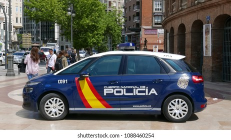 VALENCIA, SPAIN - MAY 10, 2018: A blue Spanish National Police Car in Valencia.  The Spanish National Police are mainly responsible for policing the urban areas in Spain.