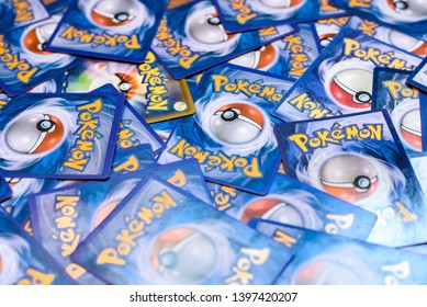 Valencia, Spain - May 10, 2019: Pokemon Trading Card Game, fondness for the collectibles of children of all ages, fans of the Pokemon RPGs.