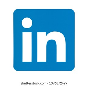 Valencia, Spain - May 15, 2017: Linkedin  icon printed on white paper.