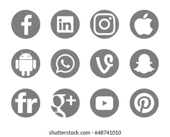 Valencia, Spain - May 16, 2017: Collection of popular social media logos printed on paper: Facebook,  Pinterest, Youtube, Instagram, Linkedin, Android, Google Plus, Apple, Snapchat, Vine, WhatsApp.