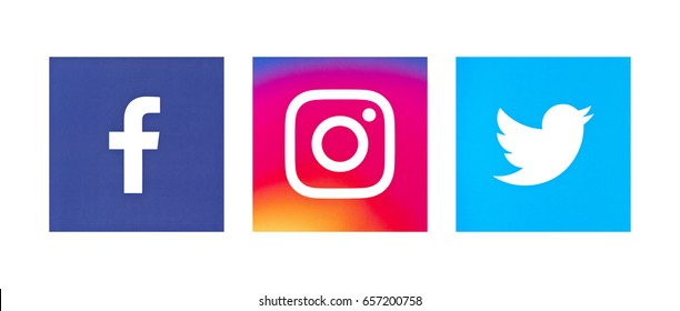 Valencia, Spain - May 16, 2017: Collection of popular social media logos printed on paper: Facebook,Twitter, Instagram.