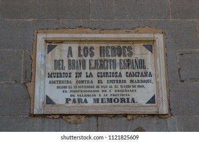 VALENCIA, SPAIN - May 17, 2017 - Commemorative plaque for the spanish army, in memory of the campaign against the Morroccan Empire. Valencia, Spain.