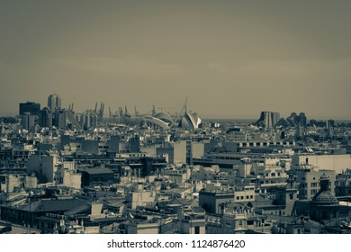 "VALENCIA, SPAIN - MAY 17, 2018 - Scenic aerial view of Valencia old town, rooftops and skyline from ""El Miguelete"", Cathedral bell tower. Vintage preset."