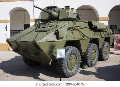 VALENCIA, SPAIN - MAY 19, 2018: The Pegaso VEC-TC25 M1 Spanish military reconnaissance vehicle on public display. The vehicle started service in the Spanish Army in 1980 as BMR-625 VEC.