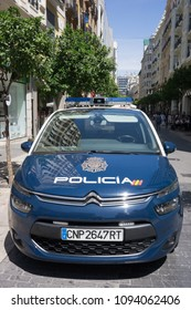 VALENCIA, SPAIN - MAY 19, 2018: A Spanish National Police Car in Valencia. The National Police are mainly responsible for policing urban areas in all parts of Spain.