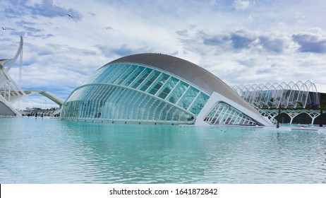 Valencia, Spain - May 2018: Hemispheric building in the sciencies and arts city in Valencia Spain. Modern and futuristic architecture.