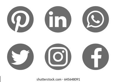 Valencia, Spain - May 21, 2017: Collection of popular social media logos printed on paper: Facebook, Pinterest, Twitter, Instagram, WhatsApp, Linkedin.