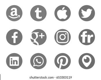 Valencia, Spain - May 21, 2017: Collection of popular social media logos printed on paper: Facebook, Flickr, Pinterest, Periscope, Instagram, Linkedin, Google Plus, Apple, Tumblr, Twitter, WhatsApp.