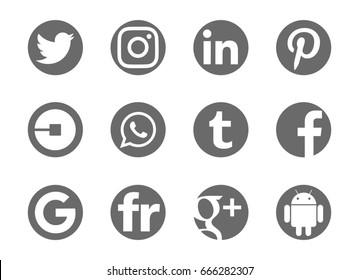 Valencia, Spain - May 21, 2017: Collection of popular social media logos printed on paper: Facebook, Flickr, Pinterest, Tumblr, Instagram, Linkedin, Android, Google Plus, Uber,Twitter, Google,WhatsApp