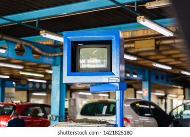 Valencia, Spain - May 29, 2019: Vehicle control monitor at a car technical control station in Spain, ITV.