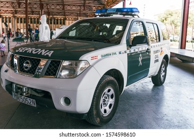 Valencia, Spain - May 5, 2019: Close-up detail of the logo and markings on the  van of the Spanish Civil Guard parked during a routine patrol. Security and terrorism editorial concept.