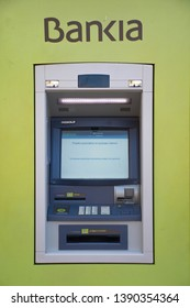 Valencia, Spain; May 6 2019:  Bankia Bank ATM, Bankia is one of the most important banks in Spain