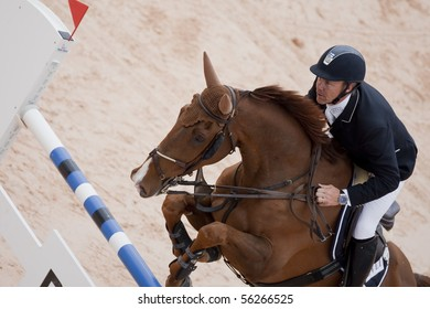 VALENCIA, SPAIN - MAY 8: Rider Forsten, Horse Vasco, Finland in the Global Champions Tour Valencia 2010 equestrian - the City of Arts and Sciences of Valencia, Spain on May 8, 2010