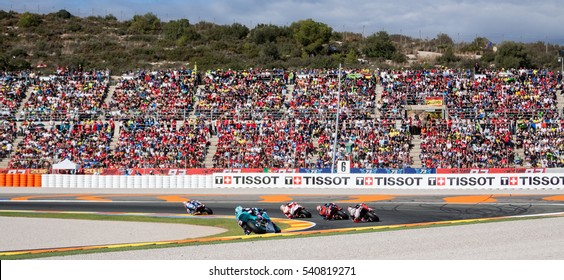 VALENCIA, SPAIN - NOV 13: Moto2 Race during Motogp Grand Prix of the Comunidad Valencia on November 13, 2016 in Valencia, Spain.