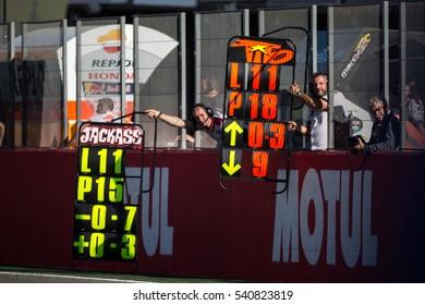 VALENCIA, SPAIN - NOV 13: Pitlane during Motogp Grand Prix of the Comunidad Valencia on November 13, 2016 in Valencia, Spain.