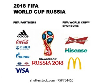 Valencia, Spain - November 01, 2017: Official partners and sponsors FIFA world cup RUSSIA 2018.