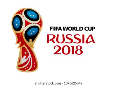 Valencia, Spain - November 02 , 2017: Official logo FIFA World Cup 2018 in Russia, printed on paper.