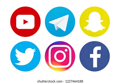 Valencia, Spain - November 06, 2018: Collection of popular social media logos printed on paper: YouTube, Telegram, Snapchat, Twitter, Facebook, Instagram.