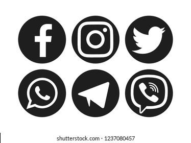 Valencia, Spain - November 06, 2018: Collection of popular social media logos printed on paper: WhatsApp, Telegram, Viber, Twitter, Facebook, Instagram.