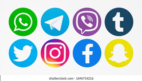 Valencia, Spain - November 06, 2018: Collection of popular social media logos printed on paper: WhatsApp, Telegram, Viber, Tumblr, Twitter, Facebook, Instagram, Snapchat.