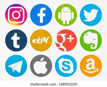 Valencia, Spain - November 06, 2019: Collection of popular social media logos printed on paper: Instagram, Facebook, Android, Twitter, Tumblr,   Google Plus, Evernote, Telegram, Apple, Skype, Amazon.