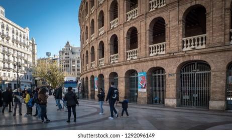 Valencia / Spain - November 1, 2018: A photo of the facade of the beautiful Plaza De Toros De Valencia, which is a popular touristic bullring located next to the Valencia Nord railway station.