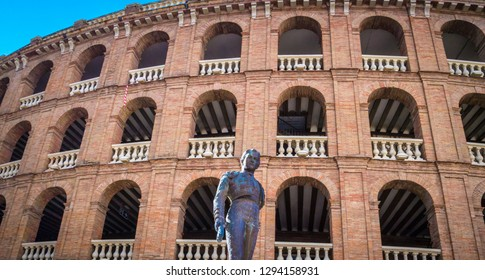 Valencia / Spain; November 1, 2018: A photo of the facade of the beautiful Plaza De Toros De Valencia which is a popular touristic bullring located next to the Valencia Nord railway station downtown