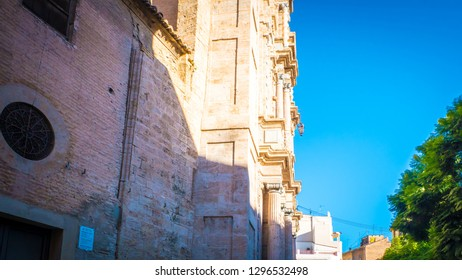Valencia / Spain - November 1, 2018: The Carmen convent in Valencia. The photo shows the facade of the ancient Carmen convent mix of medieval and gothic architectural styles located in Carmen square.