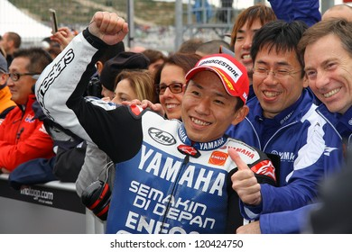 VALENCIA - SPAIN, NOVEMBER 11: Japanese Yamaha rider Katsuyuki Nakasuga finishes second at 2012 Generali MotoGP of Valencia on November 11, 2012