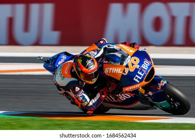 VALENCIA, SPAIN - NOVEMBER 17:  Augusto Fernández during Valencia Moto2 2019 at Ricardo Tormo Circuit on November 17, 2019 in Valencia, Spain