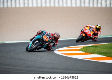 VALENCIA, SPAIN - NOVEMBER 17:  Fabio Quartararo and Marc Marquez during Valencia MotoGP 2019 at Ricardo Tormo Circuit on November 17, 2019 in Valencia, Spain