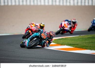 VALENCIA, SPAIN - NOVEMBER 17:  Jack Miller, Marc Marquez, Fabio Quartararo during Valencia MotoGP 2019 at Ricardo Tormo Circuit on November 17, 2019 in Valencia, Spain