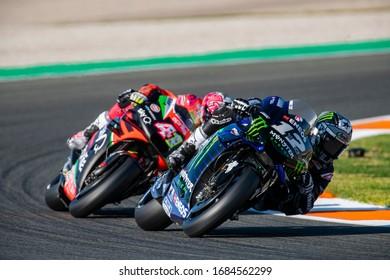 VALENCIA, SPAIN - NOVEMBER 17:  Maverick Viñales and Aleix Espargaro during Valencia MotoGP 2019 at Ricardo Tormo Circuit on November 17, 2019 in Valencia, Spain