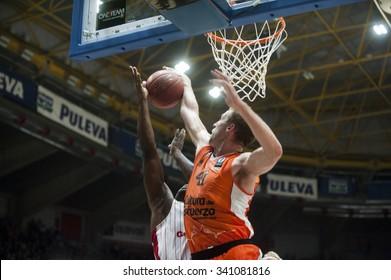 VALENCIA, SPAIN - NOVEMBER 18: Justin Hamilton during EUROCUP match between Valencia Basket Club and CAI SLUC Nancy at Fonteta Stadium on November 18, 2015 in Valencia, Spain