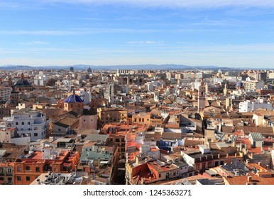 VALENCIA, SPAIN - NOVEMBER 27, 2018: Over the roofs of Valencia, Spain. Aerial view of the historic cityscape from Valencia Cathedral.