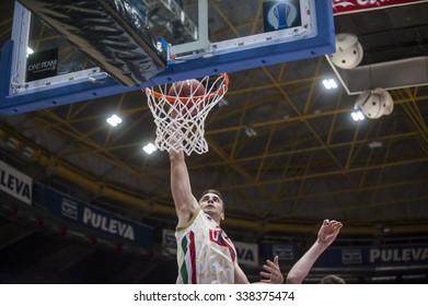 VALENCIA, SPAIN - NOVEMBER 3: Jeff Viggiano during EUROCUP match between Valencia Basket Club and CAI Zaragozaat Fonteta Stadium on November 3, 2015 in Valencia, Spain