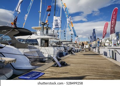 VALENCIA, SPAIN - NOVEMBER 5, 2016. The Valencia Boat Show at Marina Real Juan Carlos I, old port on the Mediterranean sea coast.